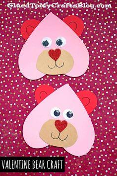 Craft Foam Heart Shaped Valentine Bear – Valentine's Day Kid Craft Idea Source Valentines Art For Kids, Toddler Valentine Crafts, Kinder Valentines, Cute Kids Crafts, Valentine's Day Crafts For Kids, Bear Valentines, Craft Activities For Kids, Valentine Activities, Kindergarten Crafts
