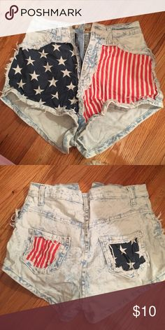 american high waisted shorts american flag high waisted shorts. worn once. perfect condition. size small. perfect for 4th of july Shorts Jean Shorts