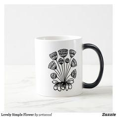 Lovely Simple Flower Magic Mug Simple Flowers, Personalized Products, Custom Mugs, Tea Cups, Coffee Mugs, Magic, Tableware, Amazing, Gifts