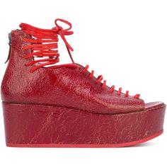 Marsèll peep-toe wedge sandals ($394) ❤ liked on Polyvore featuring shoes, sandals, red, red wedge sandals, red wedge shoes, lace up wedge sandals, peep toe wedge sandals and high wedge sandals