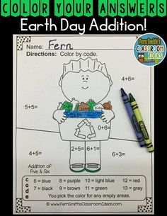 #EarthDay Math: Addition Earth Day Fun - Color Your Answers Printables! - This math resource includes: FIVE No Prep Printables that can be used for your math center, small group, RTI pull out, seat work, substitute days or homework, answer keys included too! #TpT #FernSmithsClassroomIdeas