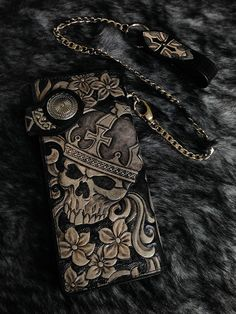 crwon skull black men biker long wallet handmade genuine leather L17 #Handmade #longwallet