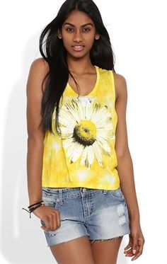 Deb Shops Tie Dye Tank Top with Daisy Screen and Stud Accents $14.25