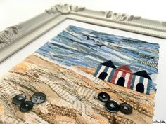 Beach Huts Beach Scene Fabric Collage 8x10 Art Print by Eliston Button on Etsy