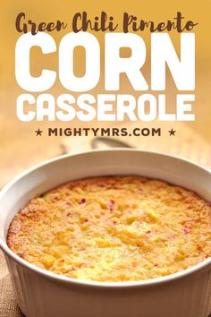 This delicious baked Green Chili Pimento Corn Casserole is an easy holiday dinner side dish that's always a hit and quick to prep. This simple recipe features pimento peppers and green chilies for a mild sweet heat—not too spicy. Baked with fresh, frozen or canned corn, cornbread mix and sour cream. Great for feeding a family. You'll love the crispy top layer and creamy center. Great for a Thanksgiving or Christmas dinner menu. Dinner Side Dishes, Best Side Dishes, Thanksgiving Side Dishes, Side Dish Recipes, Veggie Recipes, Bread Recipes, Brunch Recipes, Easy Dinner Recipes, Dinner Ideas