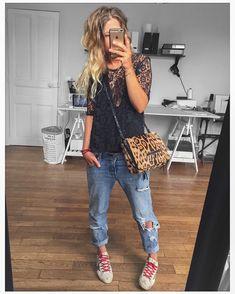 "Polubienia: 4,113, komentarze: 47 – Mélanie Delhaye (@meleponym) na Instagramie: ""Tenue du jour (+gilet + veste cuir pour sortir) ✔ tee #iro et Jean #aninebing sur @cyrielleforkure…"""