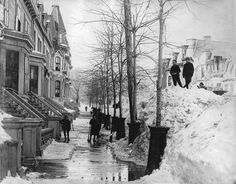 Clearing Snow, Mackay Street, Montreal, QC, about 1887 Old Montreal, Montreal Ville, Montreal Quebec, Old Pictures, Old Photos, Detroit Michigan, Best Cities, Historical Photos, Rue