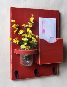 Mail Holder  Key Hooks  Jar Vase  Organizer  by LegacyStudio, $24.95 idk about having the plant there, but that's a great idea to hold mail, keys, and a purse! DIY this!