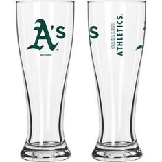 16oz MLB Oakland Athletics Gameday Style Glass Pilsner Set, 2pk, Multicolor