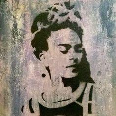 Tableau Frida Kahlo pochoir 30x30 cm : Peintures par les-tableaux-de-camille