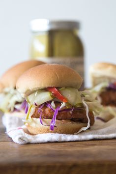 Fried Chicken Sliders with Pickles and Slaw | What's Gaby Cooking