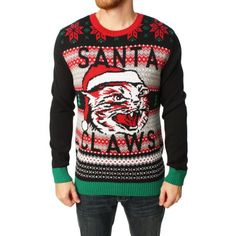 Ugly Christmas Sweater Men's Santa Claws Cat Pullover Sweater