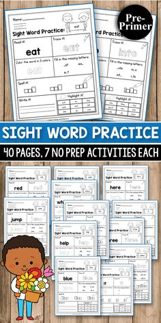 MEGA BUNDLE Sight Word Practice Kindergarten Sight Word Practice for preschool, kindergarten, first Grade - Sight Word Worksheets and Activities. It includes Dolch sight word practice worksheets that will make teaching easier at home or in the classroom. First Grade Sight Words, Dolch Sight Words, Sight Word Practice, Second Grade, Sight Word Worksheets, Sight Word Activities, Alphabet Worksheets, Thing 1, Early Finishers