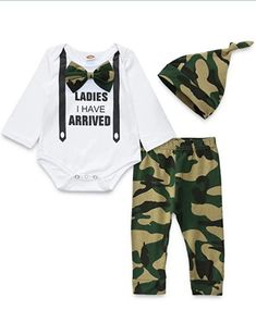 Long Pants Hat 3 Pcs Tikoubabe Newborn Baby Boy Outfits Clothes Infant Cotton Cute Hipster Romper