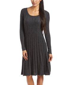 Look what I found on #zulily! Charcoal Pleated Long-Sleeve Dress - Women #zulilyfinds