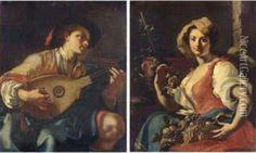 Allegoria Della Musica Allegoria Dell'autunno Oil Painting - Giuseppe Bonito