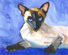 Siamese Cat Art  Print of Original Acrylic by dogartstudio on Etsy, $12.50