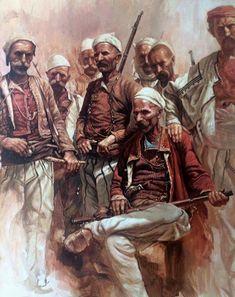 Greek Warrior, Fantasy Warrior, Albanian People, Les Balkans, Albanian Culture, Islamic Paintings, Indian Photography, Historical Art, Egyptian Art