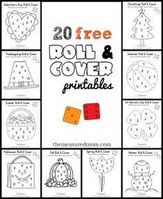 20 free & fun math games for preschool & kindergarten – Seasonal Roll & Cover!