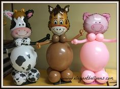#qualatexanimals #farmthemedparty #animalballoons Farm Animal Party, Farm Animal Birthday, Barnyard Party, Cowgirl Birthday, Farm Birthday, Safari Party, 1st Birthday Parties, Mcdonalds Birthday Party, Farm Theme