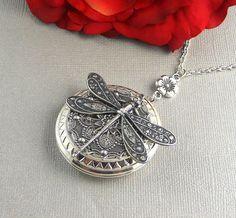 Sale Large Dragonfly Locket, Locket Necklace, Antique Silver Large Locket, Large Dragonfly, Filigree Locket