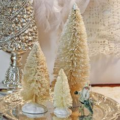 3 White Bottle Brush Tree Set Glitter by CottonRidgeEmporium