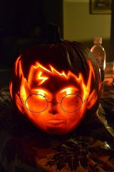Harry Potter Pumpkin. (from 40 Awesome Pumpkin Carving Ideas)