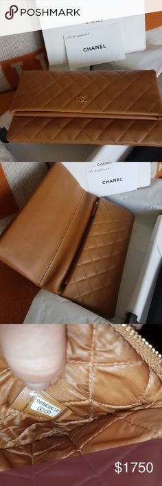 CHANEL foldover clutch CHANEL foldover clutch bran new in box with authenticity card. Classic collection and gold hardware. CHANEL Bags Clutches & Wristlets