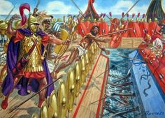 Roman marines storm a Carthaginian galley during the battle of Mylae, 1st Punic War 260 BC -  Giuseppe Rava