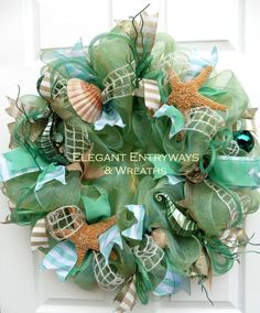 Beach Wreath, Beach Deco Mesh Wreath, Front door wreath, Shells and Starfish,