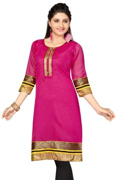 Pink Chanderi Cotton 3/4 Sleeves Kurti with lining inside (slip)