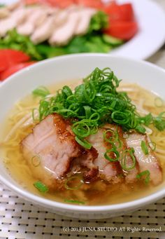 Japanese Salt Ramen Noodle Soup with Roasted Pork and Green Onion
