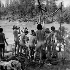 Bathing, The Rainbow Gathering, Alpine, Arizona, July, 1979  Alex Harris | naked in nature | hippies | hippy culture |