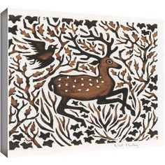 ArtWall Nat Morley Woodland Deer Gallery-Wrapped Canvas, Size: 24 x 24, Brown