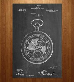 Pocket Watch Patent Art Print. Printed from a real US patent filed in 1914 - Shoppe by Scoutmob
