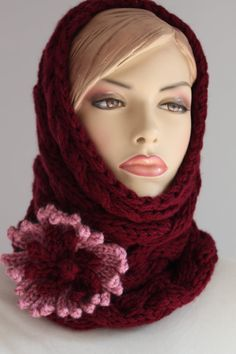 Chunky Knit Hand Knitted Tube Cowl Scarf with by levintovich