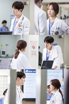 Yoo Yeon-seok and Seo Hyun-jin are caught in a tense moment. The new SBS drama 'Romantic Doctor Kim Sa-bu' stars Yoo Yeon-seok and Seo Hyun-jin as a bad-tempered doctor named Kang Dong-joo and a female doctor Yoon Seo-jeong who tries hard in everything. Asian Actors, Korean Actors, Korean Dramas, Seo Hyun Jin, Yoo Yeon Seok, Age Of Youth, Romantic Doctor, Medical Drama, Japanese Drama