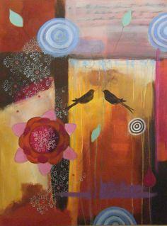 "30x40 inch acrylic painting ""Together"" Christina Minasian"