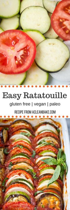 This Vegan Ratatouille recipe comes together quickly for a fresh weeknight dinner. It's a light & fresh dish that's gluten free, vegan, and paleo. Plus, it freezes well - so go ahead and make a double batch! Healthy Dinner Recipes, Whole Food Recipes, Vegetarian Recipes, Cooking Recipes, Cooking Food, Paleo Vegan, Vegan Foods, Paleo Diet, Side Dish Recipes