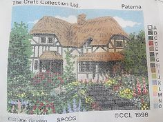 Craft Collection Paterna Cottage Garden Needlepoint Canvas 1996 SPCCG 12 x 9""