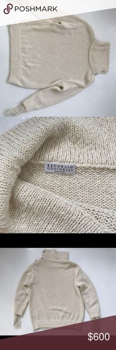 Brunello Cucinelli knitted sweater Linen and silk knitted sweater with laced sleeves Brunello Cucinelli Sweaters V-Necks