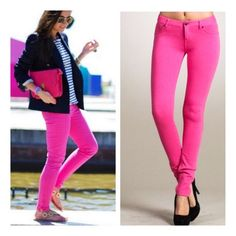 "• Pink Jeggings • Fuschia is such a hot and in-style color right now! These skinny Jeggings pair perfect with any tunic or sweater. Ultra comfy and stretchy. 95% cotton, 5% spandex. Measurement: Waist flat across: S=12"", M=13"", L=14"", XL=15"". Hips: S=16"", M=17"", L=18"", XL=19.   Runs a size small, please go one size up! Model is wearing a M. Inseam 31"".  No trades. PLEASE DO NOT purchase this listing. Comment below what size you need and I'll make you a listing Jennifer's Chic Boutique Pants…"