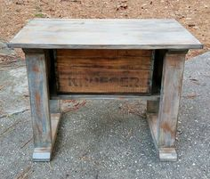 Handcrafted Side Table w/ Vintage Crate & Rustic Distressed Finish