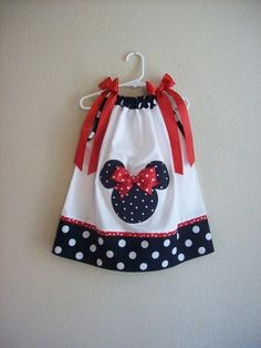 Minnie Mouse Pillow Case Dress  .... why are all the girls in the family too old for this kind of dress?  (well we do have Sabrina now.... hope her mom likes wierd home made stuff)