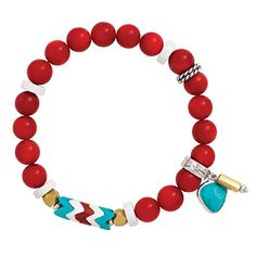 "Silpada 'Under the Sun' Sterling Silver, Brass, Coral, and Howlite Beaded Stretch Bracelet, 6.75"" >>> Read more reviews of the product by visiting the link on the image."
