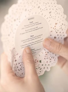 Retro doilie printed wedding guest menu