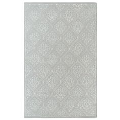 Stylishly anchor your living room or master suite with this lovely hand-tufted New Zealand wool rug, showcasing a diamond trellis motif in dove gray.