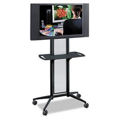 """Impromptu Flat Panel TV Cart, 38w x 20d x 65-1/2h, Metallic Gray by Safco. $901.95. Moves monitor smoothly and sleekly throughout your workspace on an impulse. Stunning steel frame and translucent polycarbonate panel holds up to 42"""" monitors. Casters provide easy mobility. Top Thickness: N/A; Shelf Type: N/A; For Use With: N/A; Cord Length: N/A."""