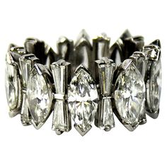 Stunning. Vintage Platinum Marquise and Baguette Diamond Eternity Band