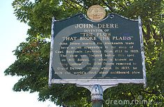 An image of a memorial plaque for John Deere in Middlebury Vermont where the famous tractor and plow innovator and inventor learned to blacksmith as an apprentice. Middlebury Vermont, Tractor Plow, Blacksmithing, Innovation, Memories, Learning, Image, Blacksmith Shop, Memoirs